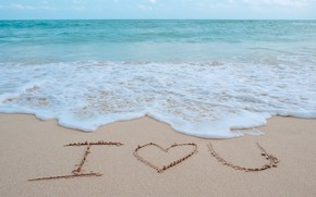 Wallpaper sand, sea, wave, beach, summer, love, summer, love, beach, sea, heart, romantic, sand, I love ...