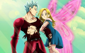 Wallpaper art, Nanatsu no Taizai, The seven deadly sins, Ban, Elaine, anime