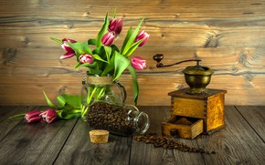 Picture flowers, bouquet, tulips, wood, coffee beans, flowers, tulips, coffee, grains, coffee grinder, grinder