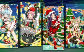 Picture collage, new year, Christmas, anime, art, Sword art online