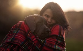 Picture girl, mood, plaid, friends, Great Dane