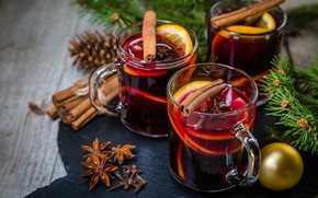 Picture New Year, cookies, Christmas, bump, Christmas, wine, orange, merry christmas, Xmas, punch, tea, cookies, decoration, …