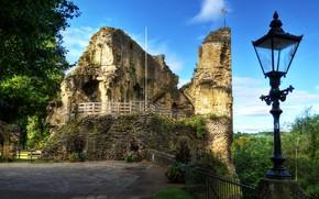 Picture the sky, trees, castle, the ruins, lantern, UK, North Yorkshire, Knaresborough Castle