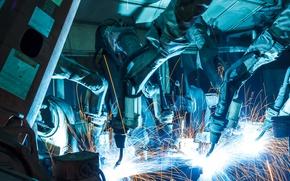 Picture industrial, sparks, metallurgy, Welders