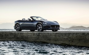 Picture car, Maserati, sea, Maserati GranCabrio