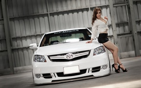 Picture look, girl, Girls, Toyota, white car