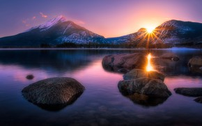 Picture water, the sun, rays, light, landscape, sunset, mountains, nature, lake, surface, reflection, stones, tops, the …