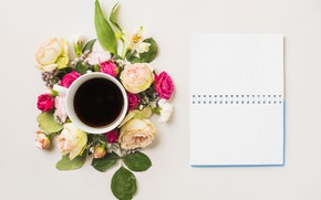 Wallpaper flowers, coffee, Notepad, flower, notebook, cup, coffee, composition