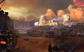 Picture fantasy, sky, clouds, people, sand, planet, digital art, buildings, artwork, fantasy art, futuristic, sandstorm, cities, …