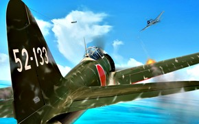 Picture WWII, Mitsubishi, painting, Grumman, model 32, F6F Hellcat, Zero, A6M3