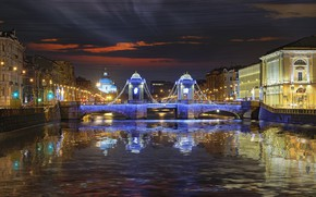 Picture night, river, promenade, illumination, Ukraine, Fontanka, St. Petersburg, Lomonosov bridge, Parsadanov