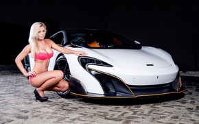 Picture auto, look, McLaren, blonde, Erotic, beautiful girl, sitting on the machine