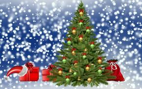 Picture zima, Christmas, choinka, prezenty