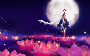 Picture girl, flowers, background, the moon