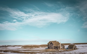 Picture field, house, the sky, snow