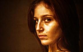 Picture girl, brown, art, beauty, glance, canvas, Kide Fotoart