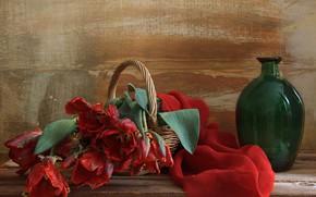 Picture basket, spring, tulips, still life, bottle