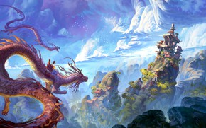 Wallpaper China, house, fantasy, sky, landscape, nature, clouds, hills, castle, digital art, artwork, fantasy art, pagoda, ...