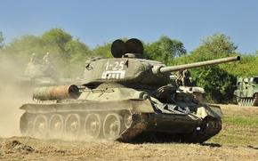 Wallpaper road, dust, Soviet, T-34-85