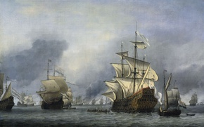 Wallpaper sail, Willem van de Velde the Younger, The Capture Of The Flagship Of The English ...