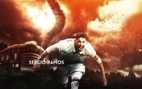 Picture wallpaper, sport, stadium, football, Real Madrid, Santiago Bernabeu, player, Sergio Ramos