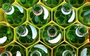 Picture glass, macro, cell, pattern, bottle, a lot, the neck, pattern, honeycomb, bottles, cell