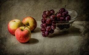 Picture macro, apples, grapes, vase, fruit