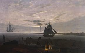 Wallpaper the fire, parts, Evening on the Baltic sea, landscape, Caspar David Friedrich, ship, picture