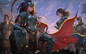 Picture girl, sword, fantasy, soldier, armor, Warrior, artwork, shield, fantasy art, cloak, knight, pearls, arms