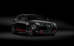 Picture Alfa Romeo, car, black background, black color