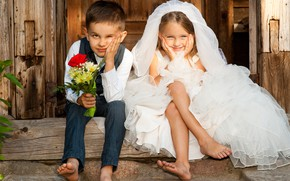 Picture children, smile, bouquet, boy, girl, two, the bride, the groom
