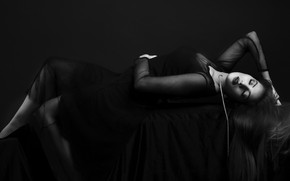 Picture girl, hair, dress, brunette, Noir, sensuality