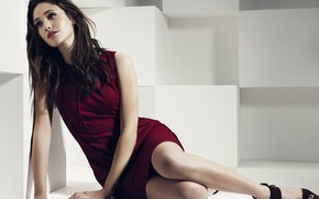 Picture look, girl, pose, photo, dress, beautiful, sitting, Emmy Rossum