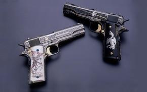 Picture gun, weapons, gun, pistol, weapon, custom, M1911, 1911, Custom, M1911 pistol, engraving, Engraving