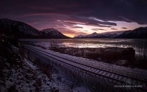 Wallpaper sea, morning, mountains, railroad