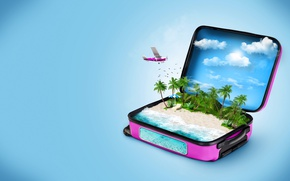 Wallpaper clouds, blue, fish, birds, sea, suitcase, beach, umbrella, chaise, the plane, background, 3D Graphics, stay, ...