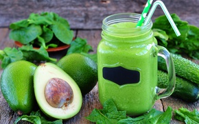 Picture greens, Bank, tube, drink, vitamins, cucumbers, avocado, smoothies, detox