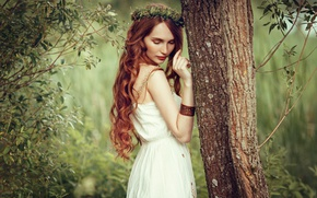 Picture girl, nature, tree, mood, red, wreath, curls, sundress, long-haired