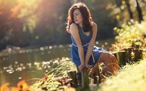 Wallpaper autumn, river, girl, mood, bokeh, pose