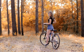 Wallpaper brown hair, trees, walk, nature, stay, forest, autumn, mood, girl, shorts, hairstyle, t-shirt, figure, sneakers, ...
