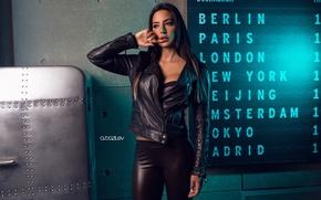 Picture girl, pose, makeup, figure, brunette, jacket, hairstyle, beautiful, in black, scoreboard, kozhanka, Alex Bazilev
