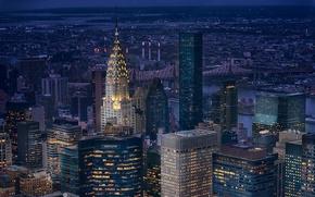 Picture night, lights, New York, skyscrapers, Manhattan