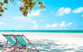 Picture sea, beach, summer, tropics, Nature, sunbeds, blue water