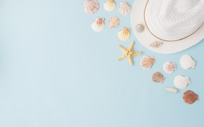 Wallpaper summer, background, hat, shell, summer, beach, marine, composition, seashells
