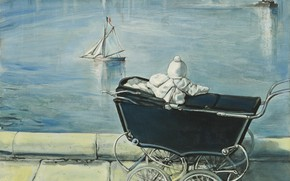 Wallpaper 1954, The pond in the Luxembourg gardens, boat, Tsuguharu Foujita, stroller, child, Paris