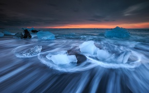 Picture sea, sunset, ice