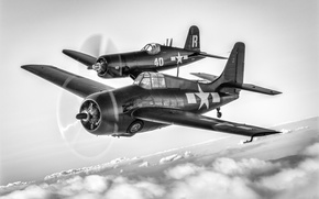 Picture FM-2, two aircraft, F4U-7