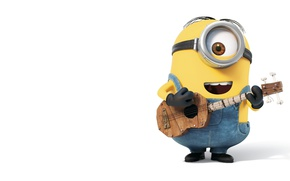 Picture guitar, smile, Minion, sing