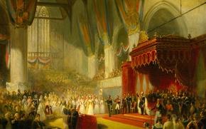Wallpaper tree, oil, picture, genre, Nicolas Pieneman, The inauguration of King William II in Amsterdam