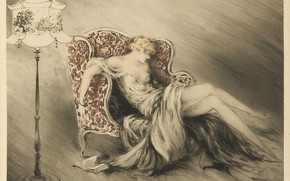 Picture vintage, 1928, Louis Icart, Thinking
